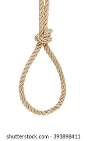 hanging rope knot tied  isolated on white