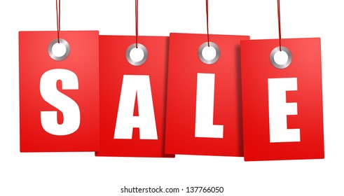Hanging sale price tags isolated on white background