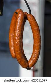 Hanging sausages.