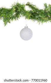 Hanging Silver Christmas Balls on flir branches on white background