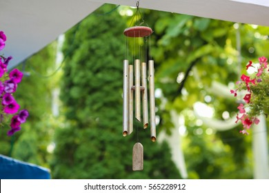 hanging silver wind chimes