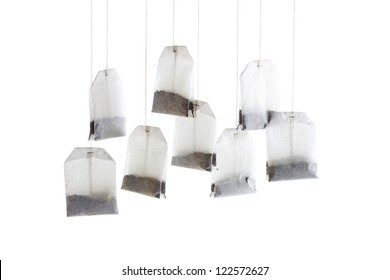 Hanging tea bags in a close-up image