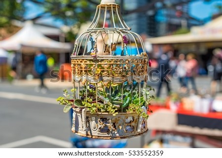 Hanging Terrarium Small Succulent Plants Recycled Stock Photo Edit