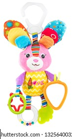 Hanging textile multicolored soft rabbit. Baby chewy toy teether Isolated on a white background.