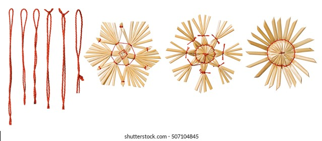 Hanging Thread, Christmas Snowflake Straw Decoration, Xmas Snow Flake, Isolated on White