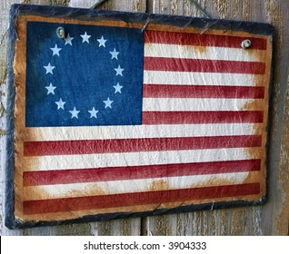 Hanging Wood Flag With 13 Stars Sign