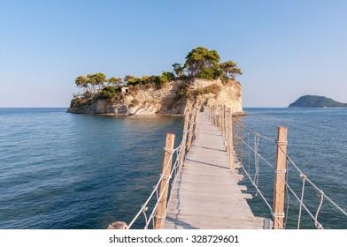 Hanging wooden bridge to Cameo Island, Zakynthos, Greece