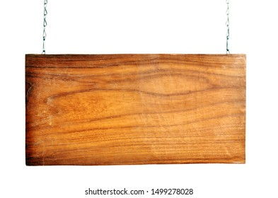 hanging wooden signs on metal chains as background empty