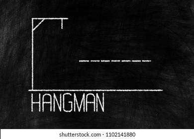 Hangman Chalk Writing on Old Grunge Chalkboard Background.