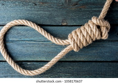 hangman's noose. Gallows knot. Rope node