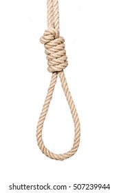 Hangman's noose isolated on a white background, a symbol of death. Hemp Rope Knot.