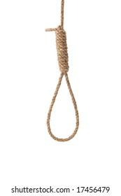 Hangman's noose made of natural fiber rope