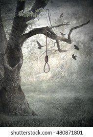 Hangman's tree in soft oil painting style. Concept for book, CD cover, poser and other.