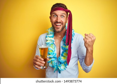 Hangover business man drunk and crazy for hangover wearing tie on head drinking beer screaming proud and celebrating victory and success very excited, cheering emotion