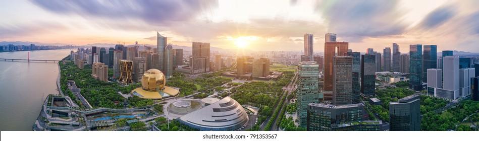 Hangzhou Center high-rise buildings high-altitude panorama