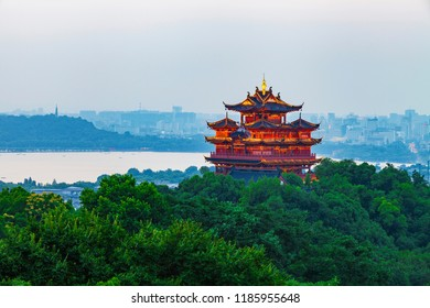 Hangzhou - China -14 June, 2018:Chinese traditional Chenghuang Ge building at dusk. Chenghuang Ge building is the famous tourist attraction in Hangzhou,china.
