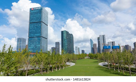 Hangzhou China -August 8, 2019:Skyline of urban architectural landscape in Hangzhou