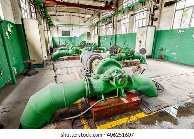Hangzhou, China - December 27, 2015: Wate pumping station of hangzhou Power plants in indoor, water pumping station is hangzhou power plant of industrial cooling system.