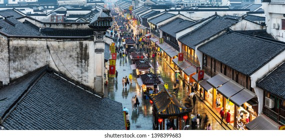 Hangzhou - China - March 2, 2019: Hefangjie Street, a famous tourist attraction in Hangzhou, China, is located in the center of Hangzhou.