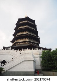 HANGZHOU, CHINA - MAY 22: Leifeng Pagoda facade on May 22, 2014 in Hangzhou, China. It was made a UNESCO World Heritage Site in 2011.