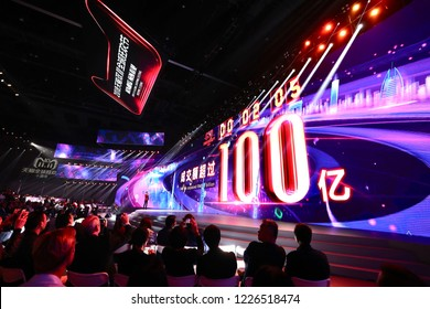 Hangzhou, China - November 11, 2018: A big screen shows the sale surpassed 10 billion RMB with in 2 minutes during the Double 11 Shopping Festival of Alibaba, in Hangzhou, China, on November 11, 2018.