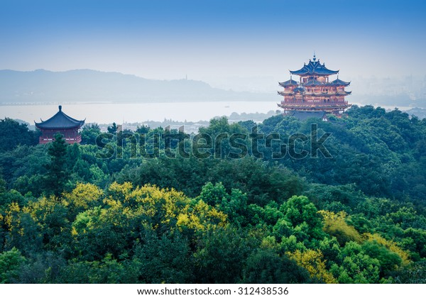 Hangzhou, China - on August 31, 2015: Chinese traditional Chenghuang Pavilion Building scenery in the evening, the  Chenghuang Pavilion is the famous tourist attraction in hangzhou.