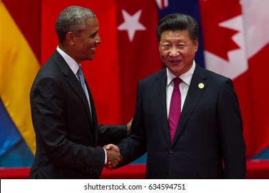 HANGZHOU, CHINA - SEPT. 4. 2016 - Chinese president Xi Jinping (R) welcomes USA President Barack Obama (L) in G20 summit in Hangzhou.