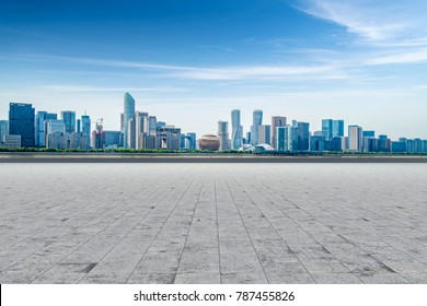 Hangzhou city architectural landscape skyline and road ground