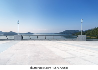 hangzhou thousand island lake landscape with empty floor against a sunny sky