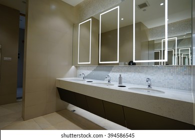 Hangzhou.China-MAR 21, 2016:contemporary interior of public toilet in luxury shopping mall.In Hangzhou city.