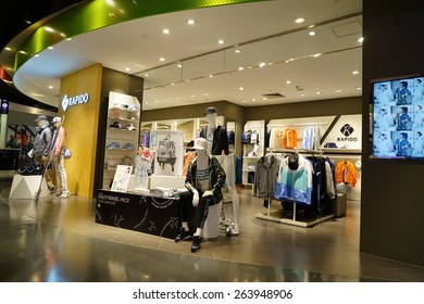 HANGZHOU-MAR. 26, 2015. Luxury shopping mall interior. China accounts for about 20 percent, or 180 billion renminbi ($27 billion1 ) of global luxury sales in 2015, according to new McKinsey research.