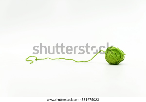 hank green woolen thread isolated on white background.