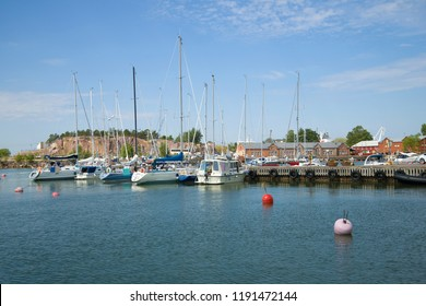 HANKO, FINLAND-JULY 14, 2018: Sunny July day in the old port