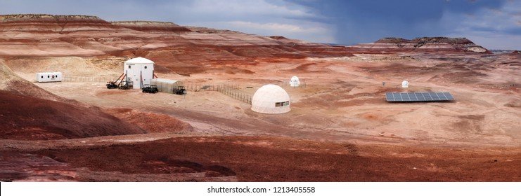 HANKSVILLE, UTAH/USA - AUGUST 15, 2018: Panorama of the Mars Desert Research Station. MDRS is the second of four planned simulated Mars surface exploration habitats (or Mars Analogue Resear