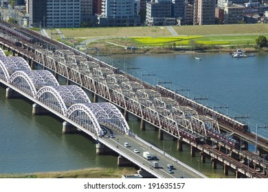 Hankyu railway bridge and Jusoohashi, Japan