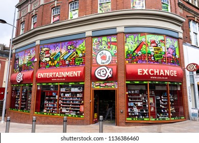 Hanley, Stoke on Trent, Staffordshire, England, 17th - July - 2018, CEX, Retail chain buying & selling DVDs, video games & digital devices including mobile phones & laptops.