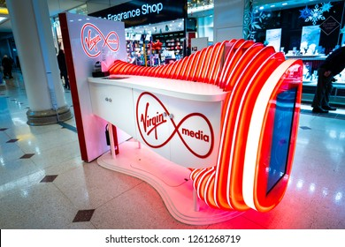 Hanley, Stoke on Trent, Staffordshire - 16th December 2018 - The Virgin Media Stall in the Intu Potteries Shopping centre, precinct, mall in the city centre