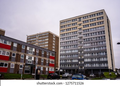 Hanley, Stoke on Trent, Staffordshire - 4th January 2019 - High rise tower blocks, flats built in the city of Stoke on Trent to accommodate the increasing population, housing crisis and over crowding