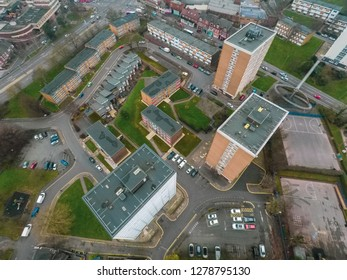 Hanley, Stoke on Trent, Staffordshire - 4th January 2019 - Aerial view of high rise tower blocks, flats built in the city of Stoke on Trent to accommodate the increasing population, housing crisis
