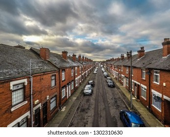 Hanley, Stoke on Trent, Staffordshire - 2nd February 2019 - Aerial, drone views of a terraced street in Fenton, Stoke on Trent a poor, deprived area of cheap but affordable housing