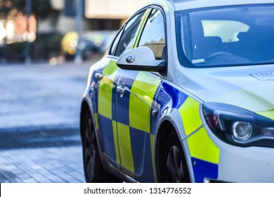 Hanley, Stoke on Trent, Staffordshire - 16th February 2019 - A police vehicle parked outside the police station and the Stoke City councils building in the city centre