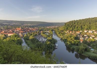 HANN. MÜNDEN, GERMANY - MAY 21, 2017: Aerial view of Hann. Munden