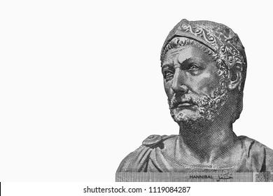 Hannibal (247 - 184 BC) portrait on Tunisia 5 dinars (2013) banknote closeup, Carthaginian general, one of the greatest military strategists in history. Close Up UNC Uncirculated - Collection.
