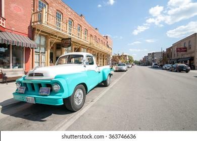 HANNIBAL, USA - SEPTEMBER 4; Restored retro Studebaker truck parked outside Planters Restaurant on September 4, 2015 in Main Street Hannibal Missouri USA. Historic hometown of Mark Twain.