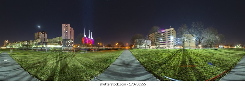 Hannover district Linden-Limmer at night. 360 degree panoramic composition.