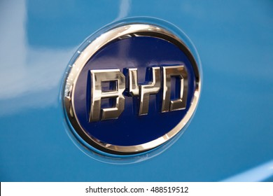 HANNOVER, GERMANY -  23, 2016: Logo of the chinese automobile manufacturer company BYD - Build Your Dreams