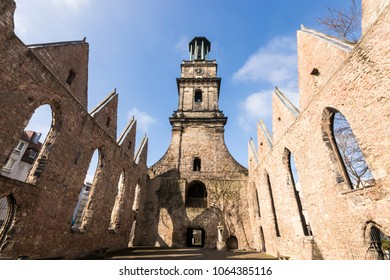 Hannover, Germany. The Aegidienkirche (Saint Giles church), a former church destroyed in World War II and left in ruins as a war memorial