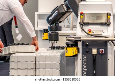 HANNOVER / GERMANY - APRIL 02 2019 : Bosch Rexroth is displaying their cobot innovation at the Hannover Messe.