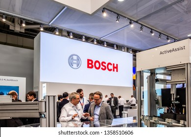 HANNOVER / GERMANY - APRIL 02 2019 : Bosch Rexroth is displaying continuous innovation at the Hannover Messe.