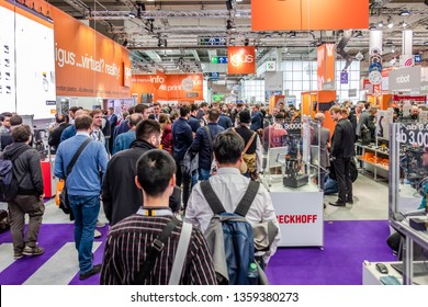 HANNOVER / GERMANY - APRIL 02 2019 : IGUS is presenting their newest VR innovations at the Hannover Messe.